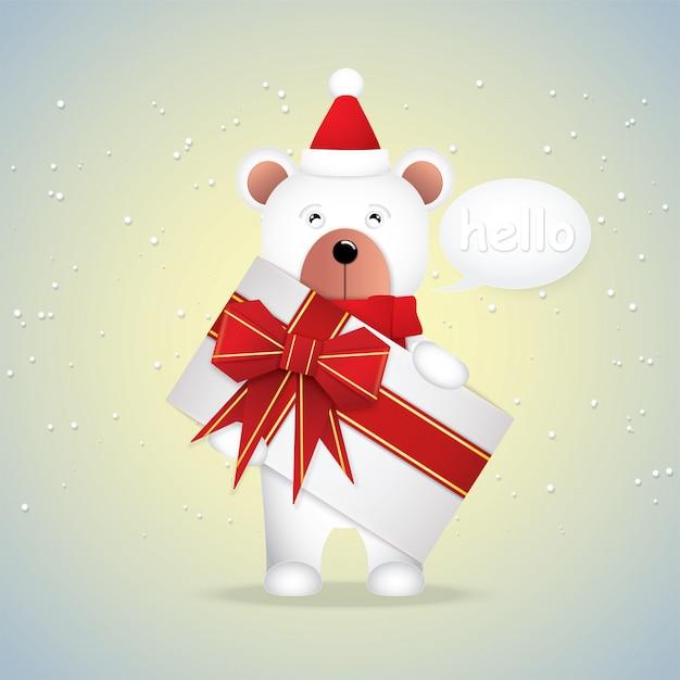 Simpatico cartone animato orso bianco e confezione regalo
