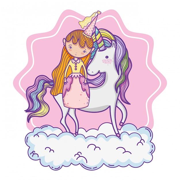 Simpatico cartone animato principessa magica Vettore Premium