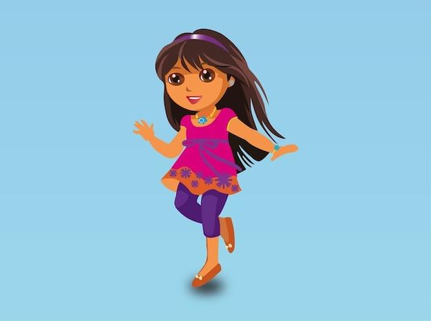Simpatico cartone animato ragazza felice vettore