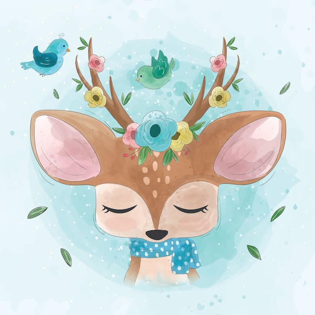Simpatico cervo con fiori e uccelli Vettore Premium