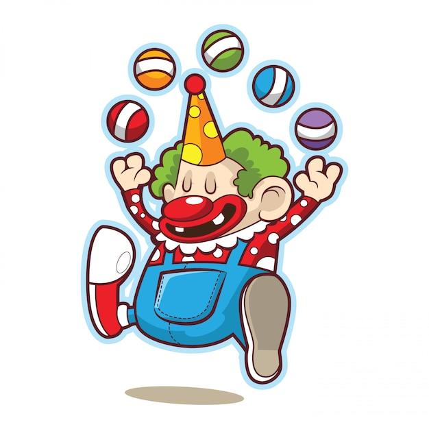 Simpatico clown da circo divertente che gioca con la palla Vettore Premium