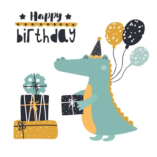 Simpatico coccodrillo con regali di compleanno. Vettore Premium