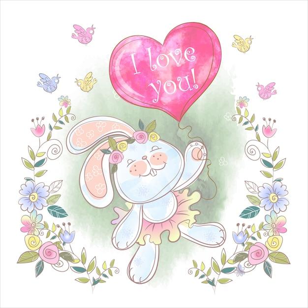 Simpatico coniglietto con un palloncino a forma di cuore Vettore Premium