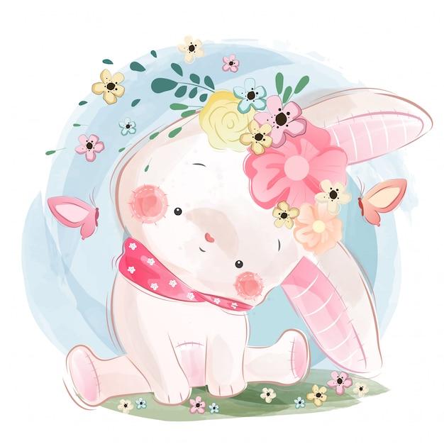 Simpatico coniglietto in primavera Vettore Premium