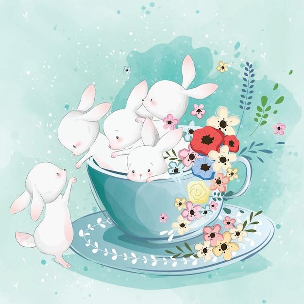 Simpatico coniglietto nella tazza di tè Vettore Premium