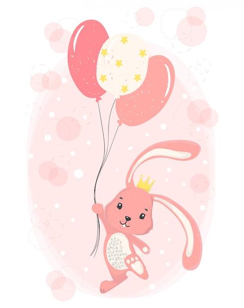 Simpatico coniglietto rosa felice con corona che tiene palloncini stella rosa Vettore Premium