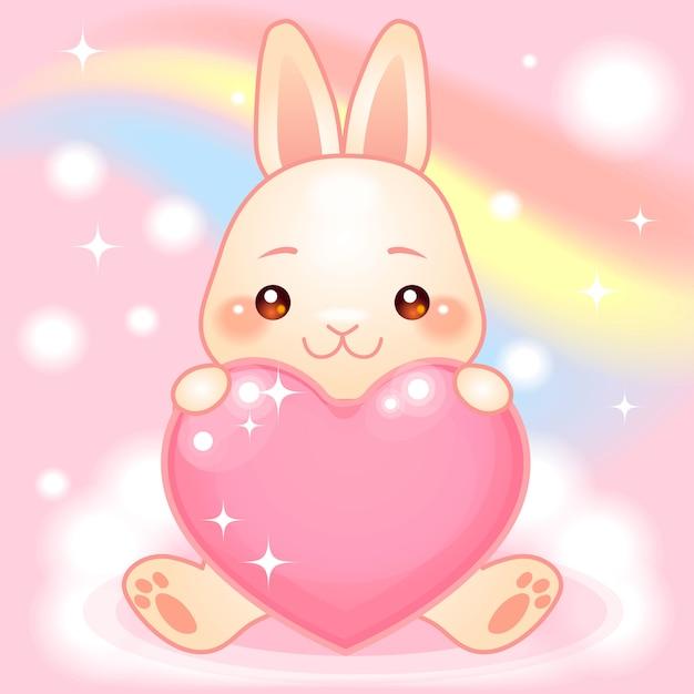 Simpatico coniglietto su un mondo fantasy arcobaleno Vettore Premium