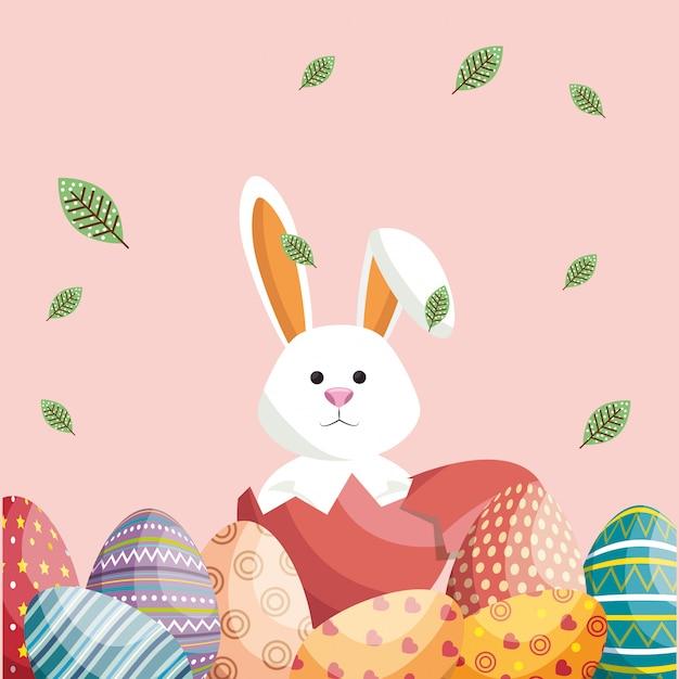 Simpatico coniglio buona pasqua card Vettore Premium