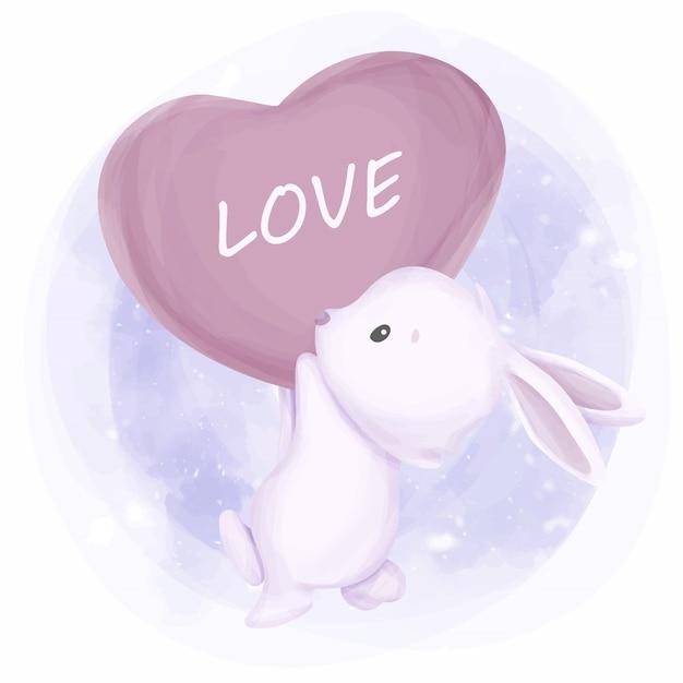 Simpatico coniglio con palloncino amore Vettore Premium