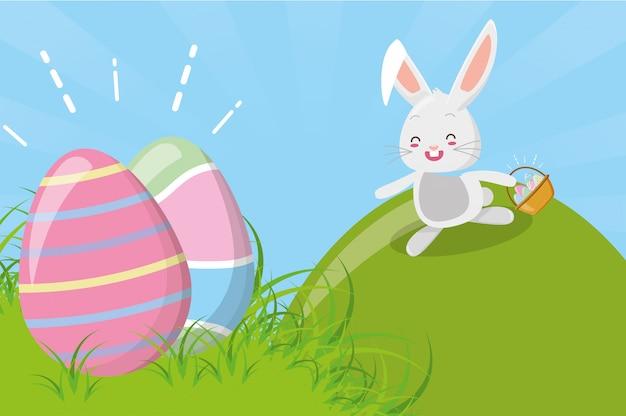 Simpatico coniglio con uovo di pasqua Vettore gratuito