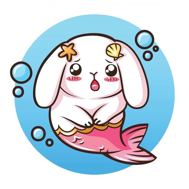 Simpatico coniglio holland lop sul costume da sirena Vettore Premium
