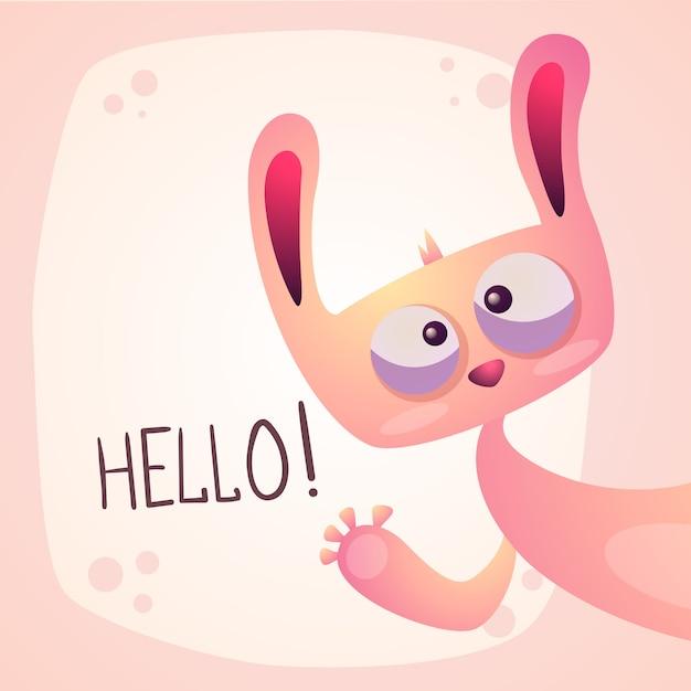 Simpatico coniglio - illustrazione divertente ciao Vettore Premium