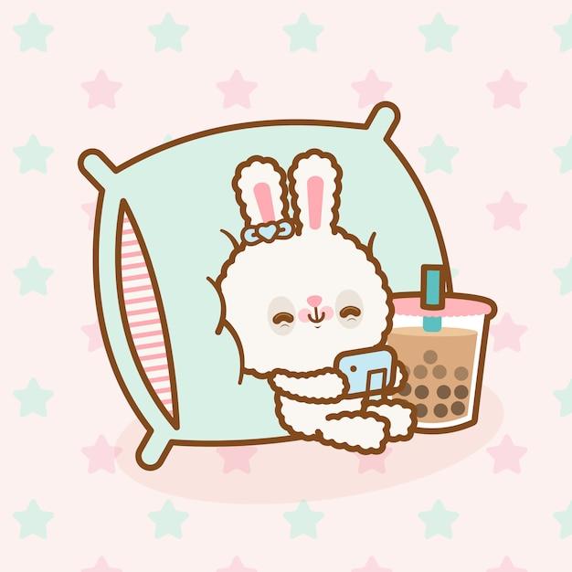 Simpatico coniglio kawaii giocando ai videogiochi Vettore Premium