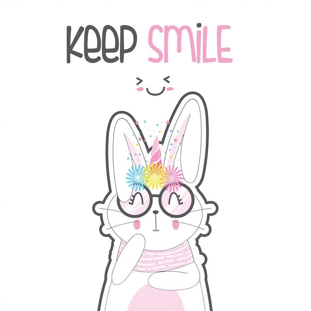 Simpatico coniglio unicorno con gli occhiali Vettore Premium
