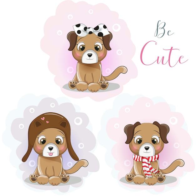 Simpatico cucciolo di cartone animato in un cappello, una sciarpa e una bandana Vettore Premium