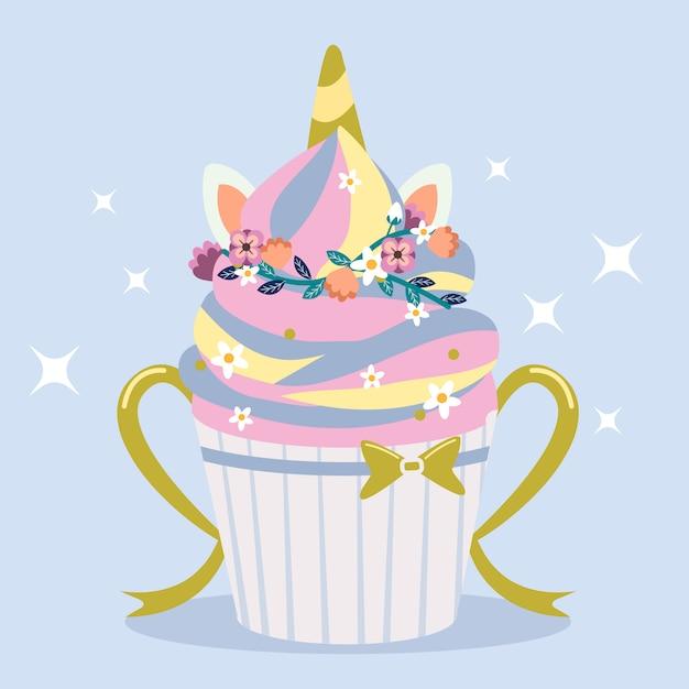 Simpatico cupcake in stile unicorno arcobaleno con anello floreale Vettore Premium