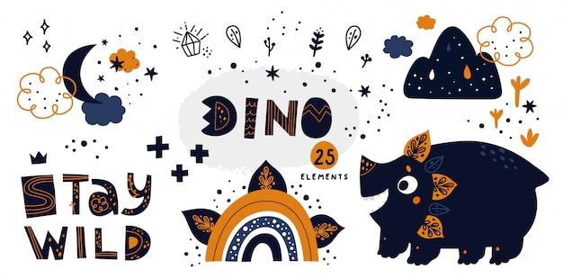 Simpatico dinosauro con elementi doodle disegnati a mano: arcobaleno, cristallo, luna, nuvola, stelle Vettore Premium