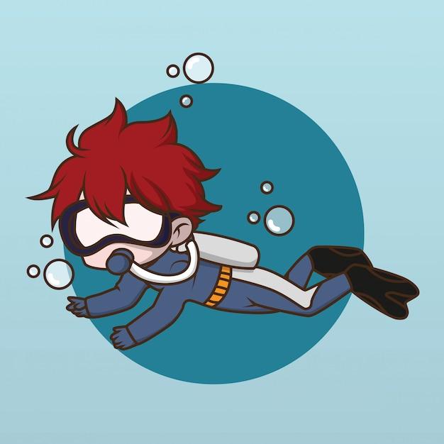 Simpatico disegno di charmer diver acqua. Vettore Premium