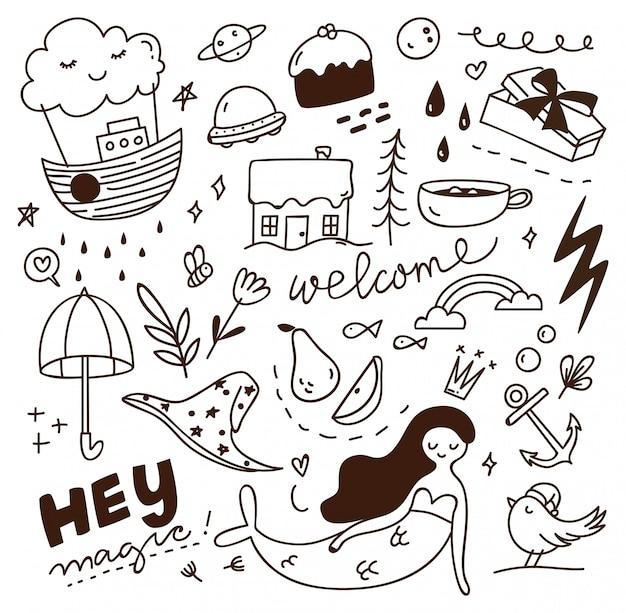 Simpatico doodle con mix di vari oggetti Vettore Premium