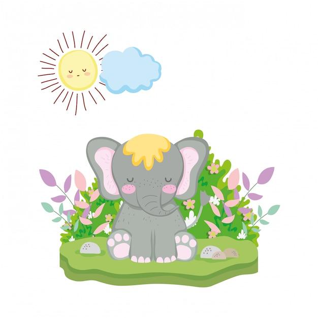Simpatico e piccolo personaggio elefante Vettore Premium