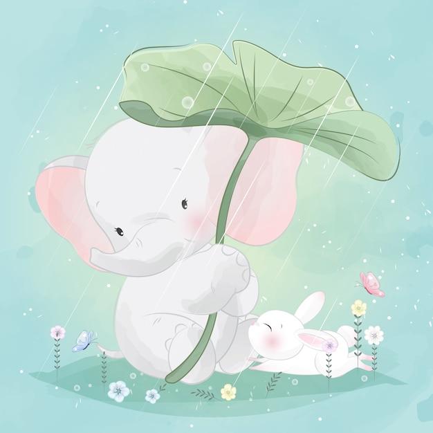 Simpatico elefantino sta aiutando il coniglietto a coprire la pioggia Vettore Premium
