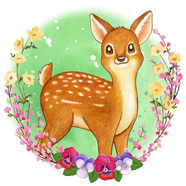 Simpatico fawn dell'acquerello in una cornice di fiori selvatici Vettore Premium