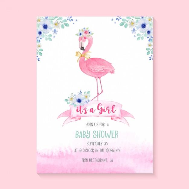 Simpatico fenicottero dell'acquerello e fiori per invito alla festa baby shower. carta di invito modello baby shower Vettore Premium