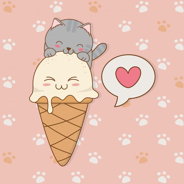Simpatico gattino con gelato personaggio kawaii Vettore Premium