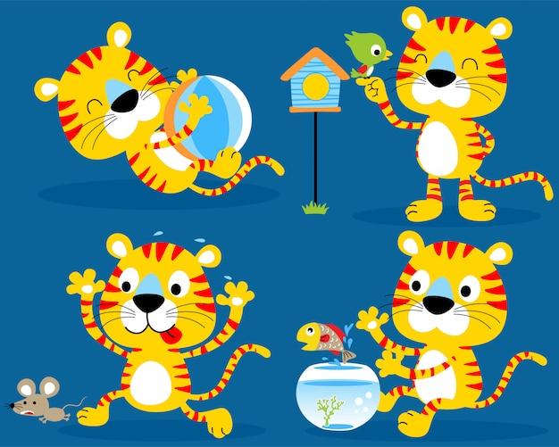 Simpatico gattino set cartoon Vettore Premium