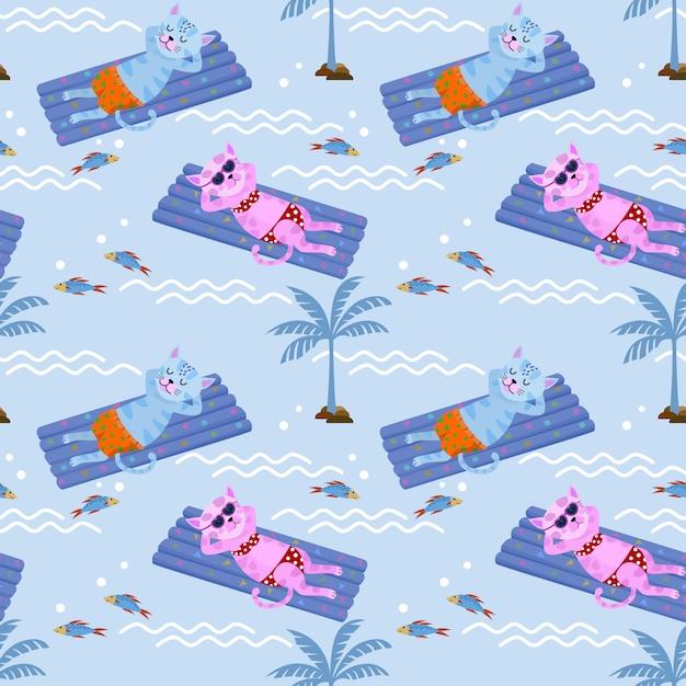Simpatico gatto che galleggia sul materasso ad acqua della piscina. Vettore Premium