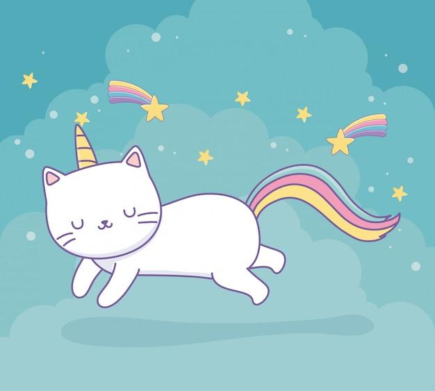 Simpatico gatto con carattere kawaii coda arcobaleno Vettore Premium