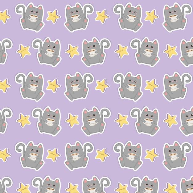 Simpatico gatto con motivo a caratteri kawaii caffè Vettore Premium
