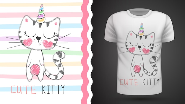 Simpatico gatto - idea per t-shirt stampata Vettore Premium