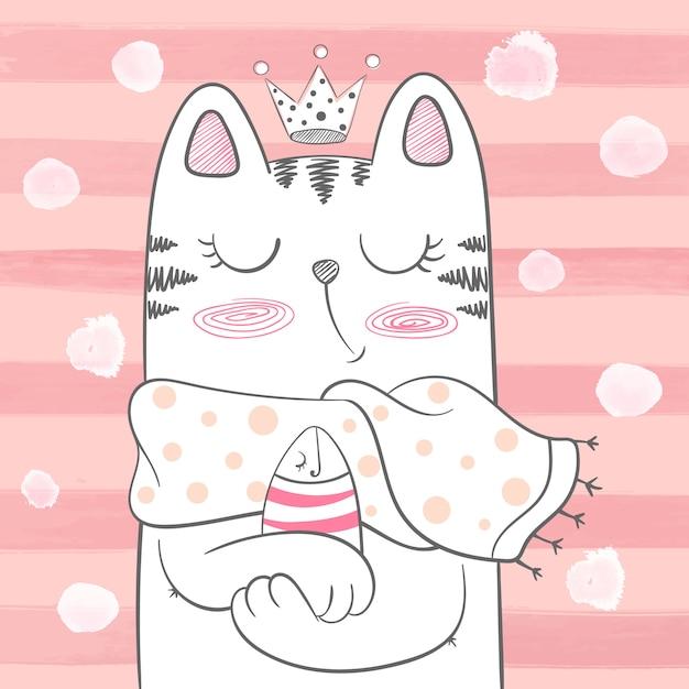 Simpatico gatto principessa con pesce Vettore Premium