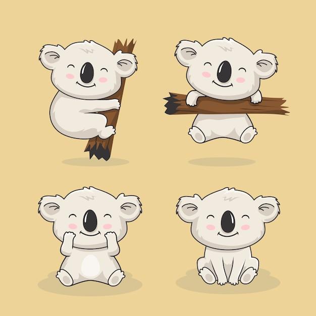 Simpatico koala cartoon animal set Vettore Premium