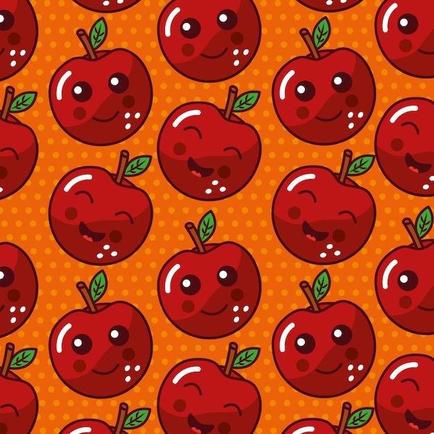 Simpatico modello kawaii di frutta divertente faccia seamles Vettore gratuito