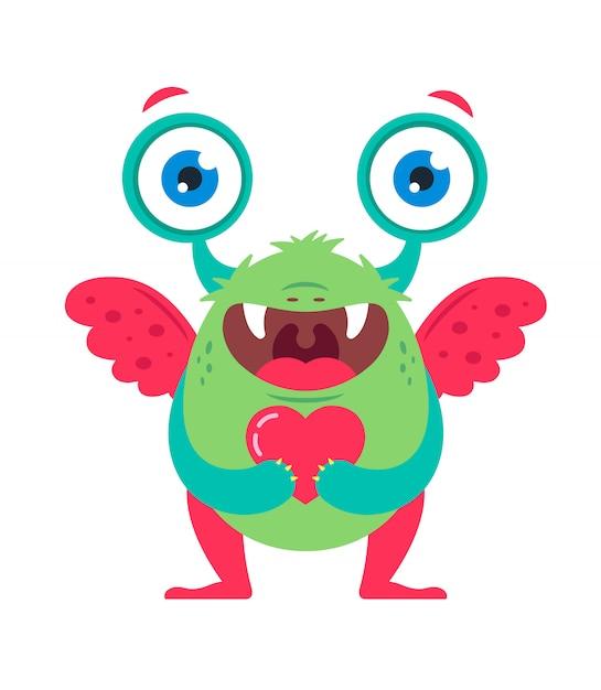 Simpatico mostro verde con un cuore in mano in attesa di una persona cara. Vettore Premium
