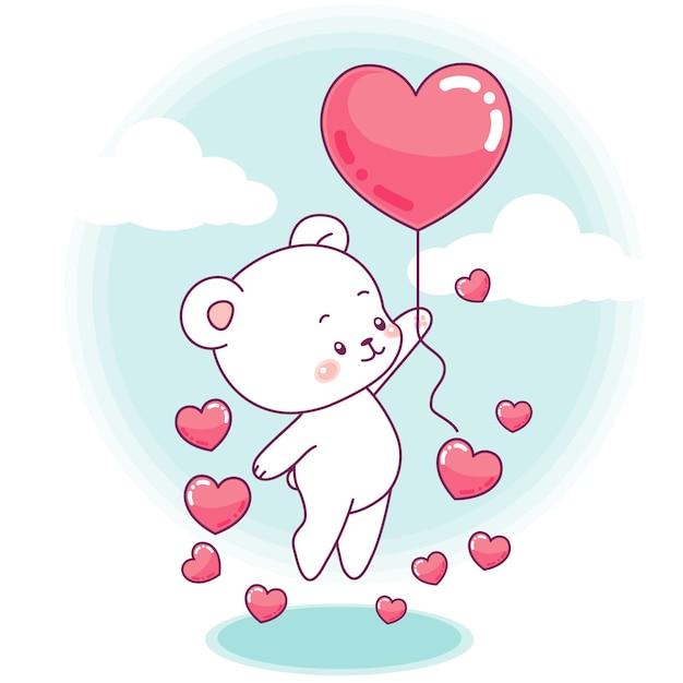 Simpatico orsetto decolla con un palloncino a forma di cuore Vettore Premium