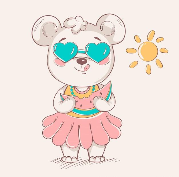 Simpatico orsetto in gonna colorata e occhiali da sole Vettore Premium