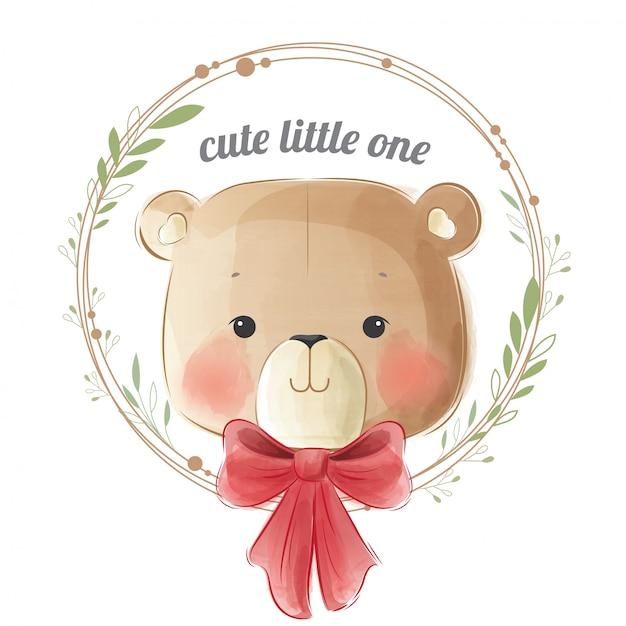 Simpatico orso bambino in ghirlanda Vettore Premium