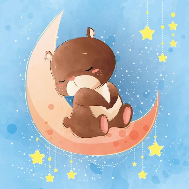 Simpatico orso che dorme sulla luna Vettore Premium