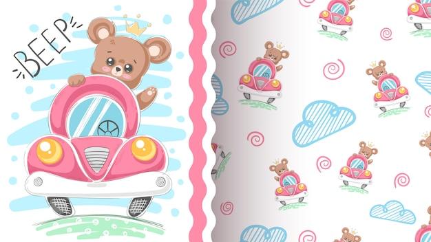 Simpatico orso e idea auto per t-shirt stampata Vettore Premium