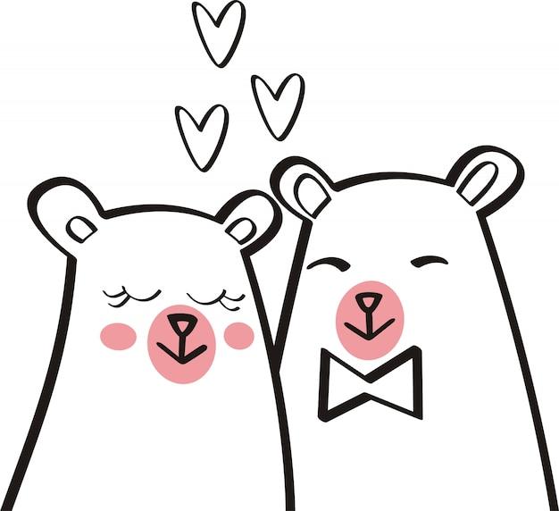 Simpatico orso illustrazione vettoriale per i bambini Vettore Premium