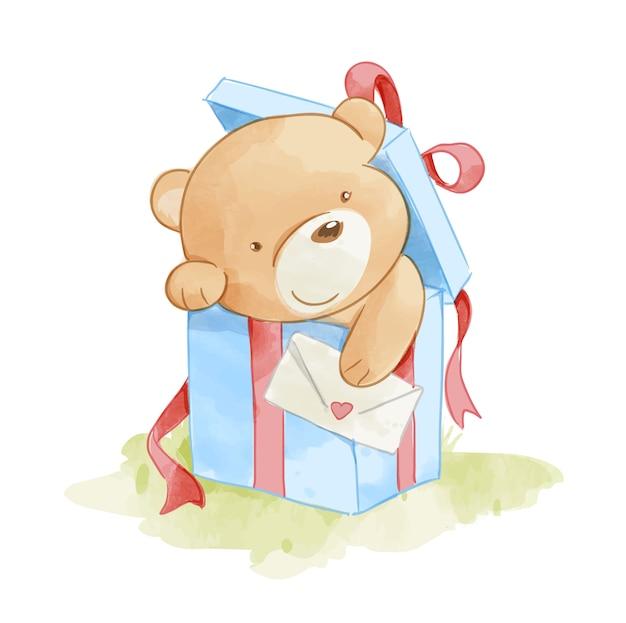 Simpatico orso nella casella presente illustrazione Vettore Premium