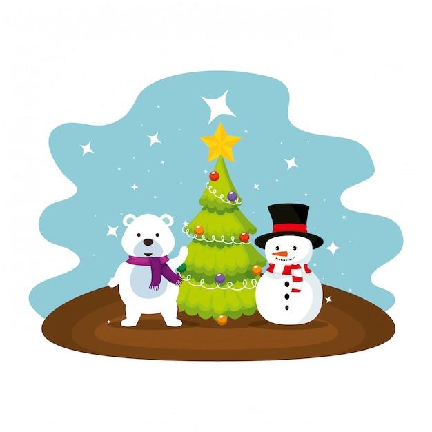 Simpatico orso polare con personaggi di pupazzi di neve Vettore Premium