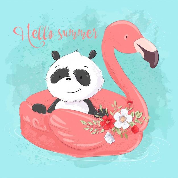 Simpatico panda su un cerchio gonfiabile a forma di fenicotteri, illustrazione in stile cartone animato Vettore Premium