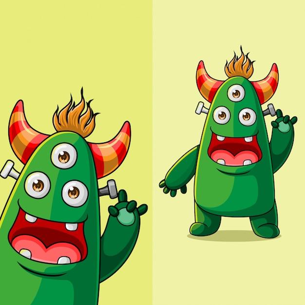 Simpatico personaggio a tre occhi mostro agitando, con diversa posizione dell'angolo di visualizzazione, disegnato a mano Vettore Premium