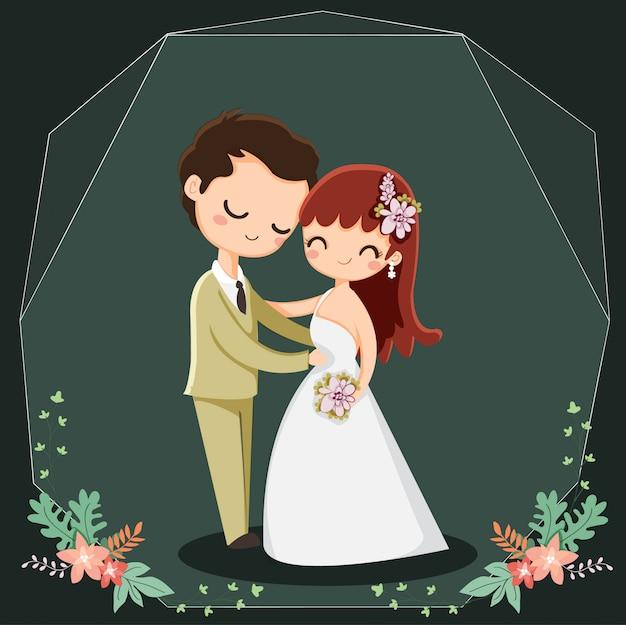 Simpatico personaggio dei cartoni animati di coppia per gli inviti di nozze Vettore Premium