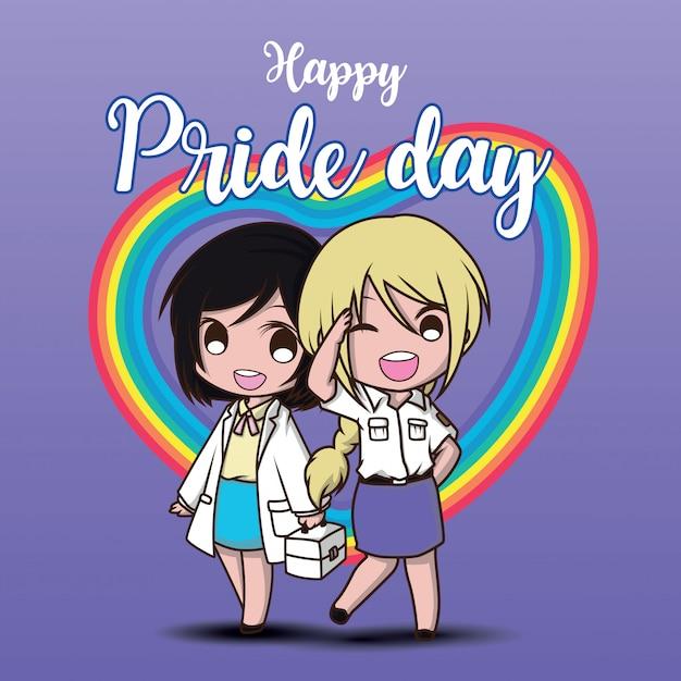 Simpatico personaggio dei cartoni animati di due lesbiche Vettore Premium