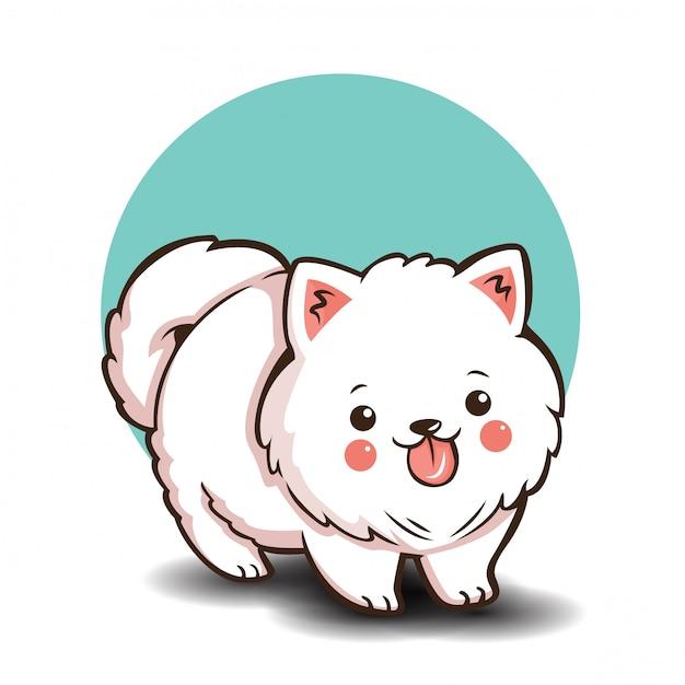 Simpatico personaggio dei cartoni animati di pomeranian dog Vettore Premium